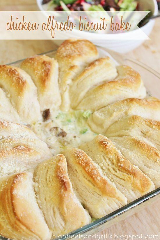 Chicken Alfredo Biscuit Bake