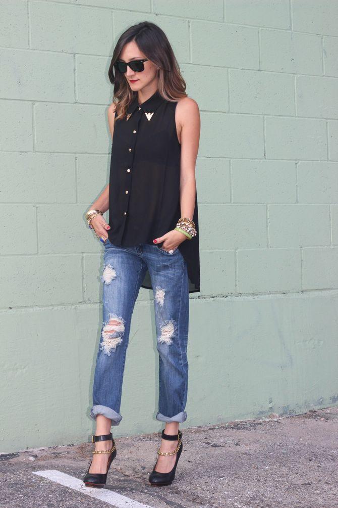 Distressed DenimBoyfriend Jeans, Jeans Outfit Boyfriends, Style, Frankie Heart, Blue Jeans, Distressed Denim, Boyfriends Jeans, How To Wear Distressed Jeans, Heart Fashion