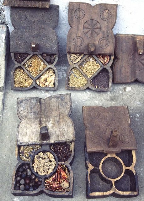 Wooden spice boxes for sale in the old section of Cochin, India.
