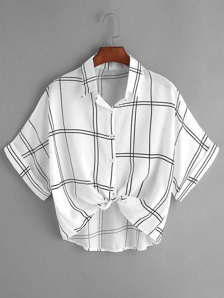 Blusa de cuadros con cordón en la parte delantera - negro blanco-Spanish Romwe Sitio Móvil