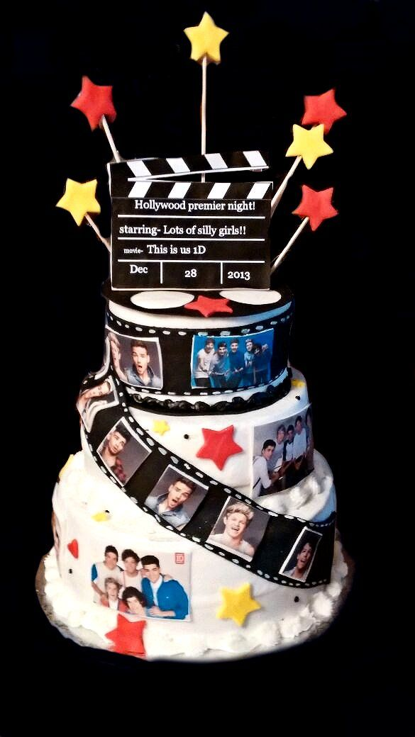 """one direction Hollywood themed cake,made this cake for my daughters Hollywood premier party..her and her friends watched the 1d """"this is us"""" movie so we worked her party around that"""