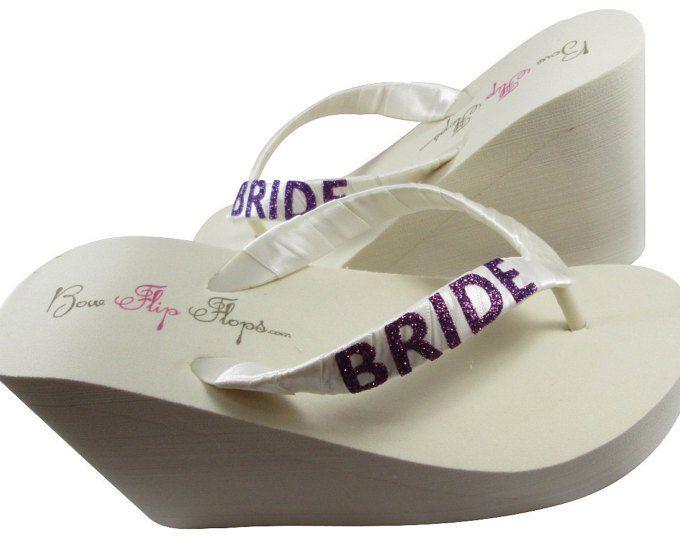 f1c8f01eaba23 WEDGE Wedding Flip Flops - Bridal Wedge Flip Flops - Pearl and ...