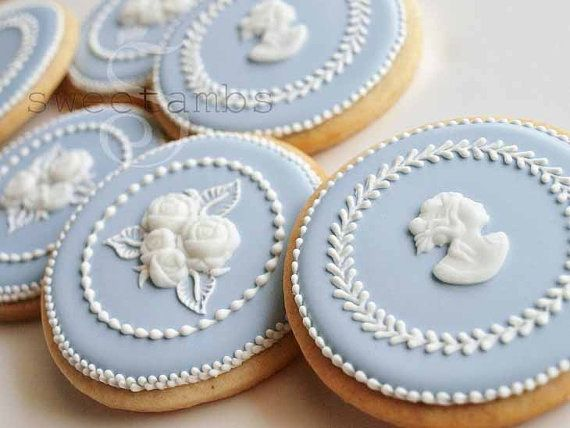 Orange Vanilla Spice Cookies inspired by Wedgwood Jasperware decorated by hand with royal icing and fondant cameos and roses.