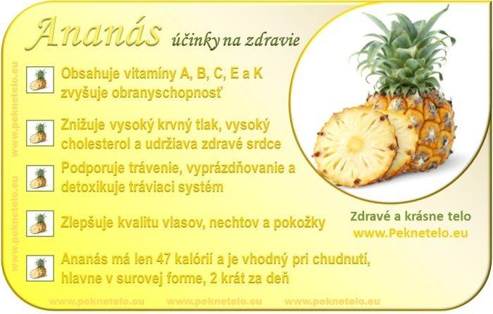 Ananas - účinky na zdravie a chudnutie