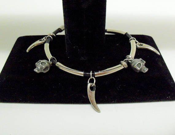 Skull and Wing Charm Bracelets Jolly Roger Skulls Bat