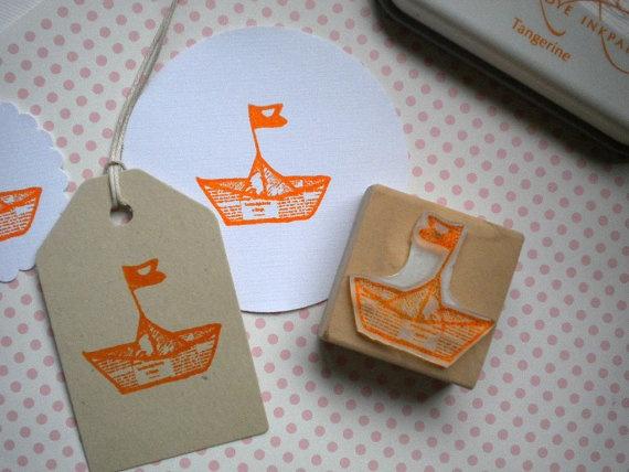 paper boat stamp