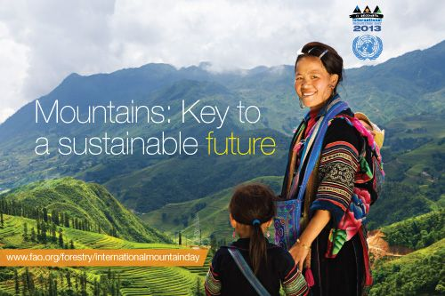 Today is International Mountain Day (11/12/2013)!  Mountains are key to a sustainable future and play a key role in family farming . Did you know mountains are home to 720 million mountain people globally? For more facts and info: http://www.fao.org/family-farming-2014/resources/details-publications/en/c/209128/