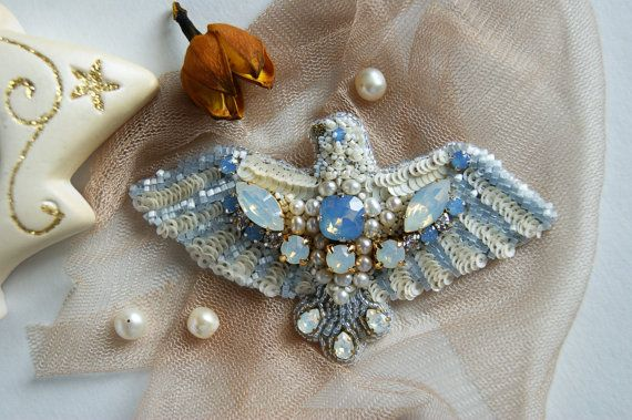 Brooch the Flapping wings the brooch of sequins by LoveBeadJewerly