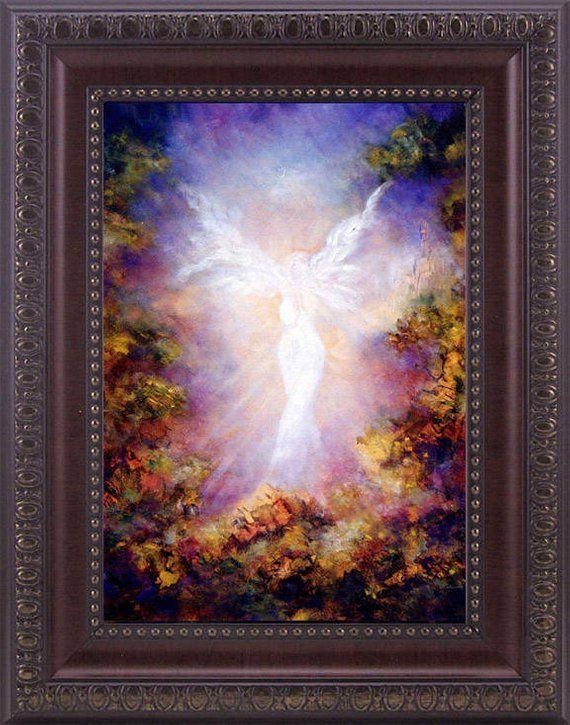ANGEL ART PRINT FRAMED Signed GUARDIAN ANGEL PRINT ANGEL DECOR SPIRITUAL GIFT