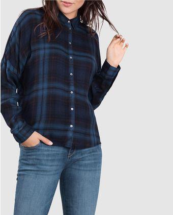 Camisa de mujer Esprit con estampado de cuadros y manga larga