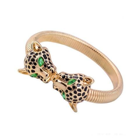 Tesla Gold-Plated Bangle With Double Leopard Head Accent