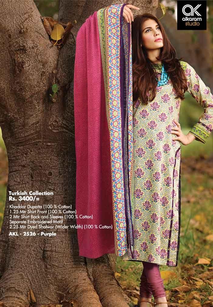 AKL 2526 - Purple  Rs. 3400/- Khaddar Dupatta (100 % Cotton) 1.25 Mtr Shirt Front (100 % Cotton) 2 Mtr Shirt Back and Sleeves (100 % Cotton) Separate Embroidered Motif 2.25 Mtr Dyed Shalwar (Wider Width) (100 % Cotton)  www.alkaramstudio.com