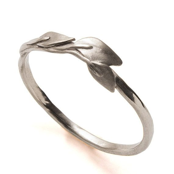Leaves Ring - 14K White Gold Ring, unisex ring, wedding ring, wedding band, leaf ring, filigree, antique, art nouveau, vintage