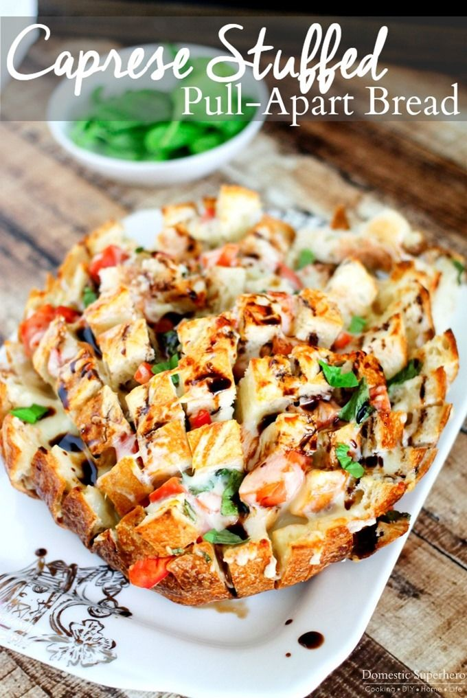caprese stuffed bread, stuffed pull apart bread, party appetizer, best game day snacks, game-day foods, football foods, brushcetta recipes, bruschetta breads
