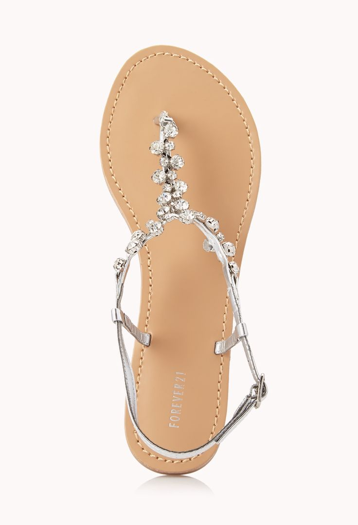 Touch-Of-Glam Sandals | FOREVER21 - 2000066132. Come in silver and pewter. I keep thinking about buying these for my wedding shoes, but I'm afraid the rhinestones would snag my long dress.