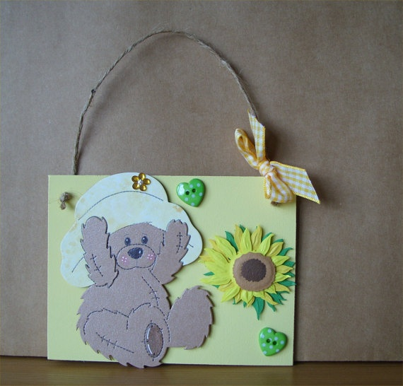Sunflower & Teddy Bear Plaque by AuntyJoanCrafts on Etsy, £4.95: Bears Plaques, Teddy Bears