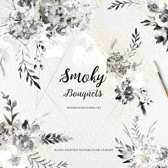 13 Smoky Flowers Clipart Black Watercolor Flowers Black And