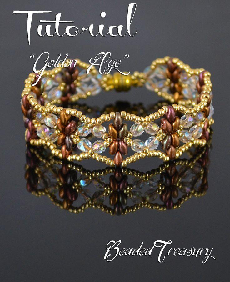 """Golden Age"" beadwoven bracelet by Iulia Postica of BeadedTreasury."