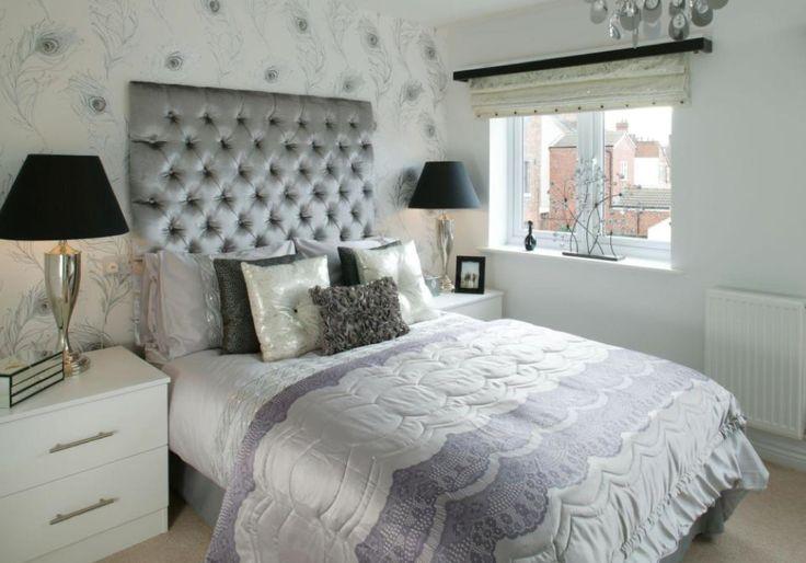 Barratt Homes - Bracken Gardens (Rugeley)  Interior Designed Guest bedroom using #prestigioustextiles peacock wallpaper on the back wall.