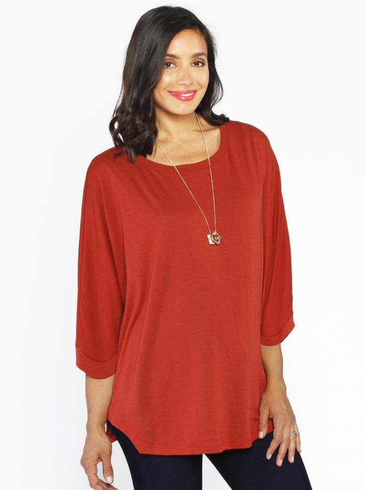 Loose Fit Top in 3/4 Sleeve, Persimmon Red, $44.95, is a simply stunning maternity top that can be dressed up or down and easily transitions from desk to dinner.