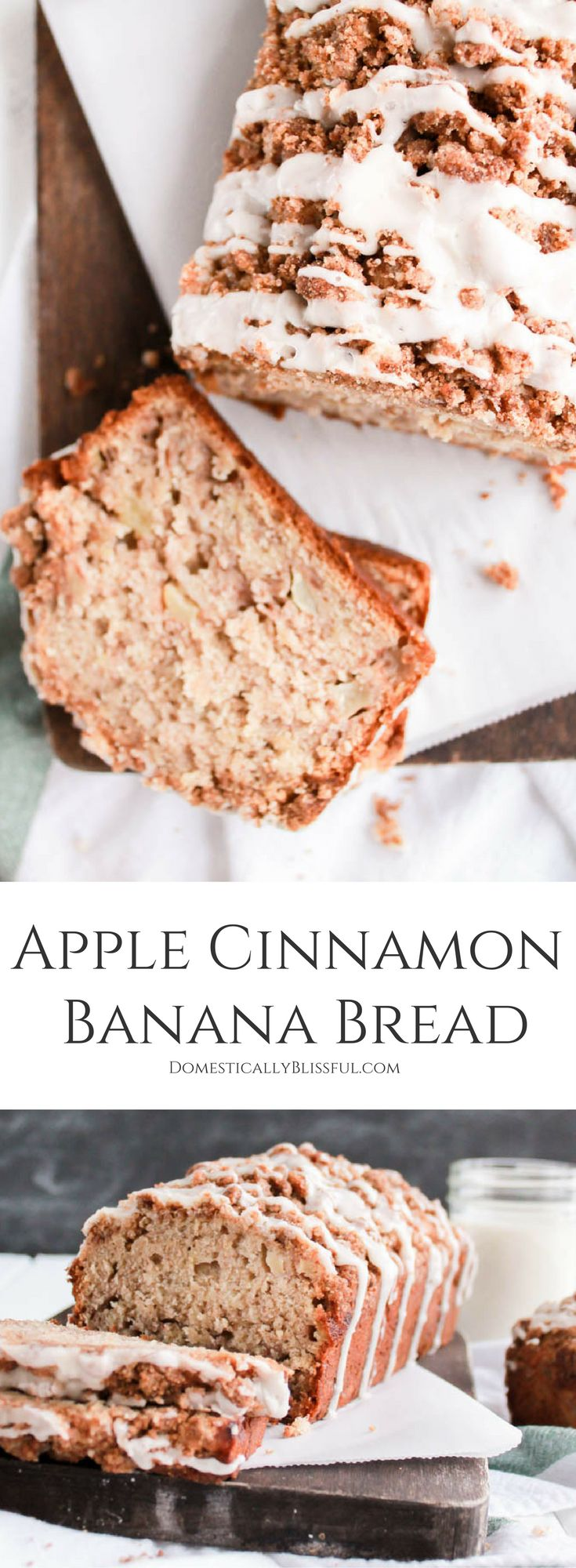This Apple Cinnamon Banana Bread with streusel & icing drizzle is the perfect way to use up your extra apples & bananas & it makes your home smell as delicious as this bread tastes! | cinnamon apple banana bread | apple banana bread | apple bread | cinnamon bread recipe | baking | homemade recipe | fall baking | fall dessert | fall breakfast | fall brunch | thanksgiving breakfast | thanksgiving brunch | fall food | leftover bananas | leftover apples | streusel icing |
