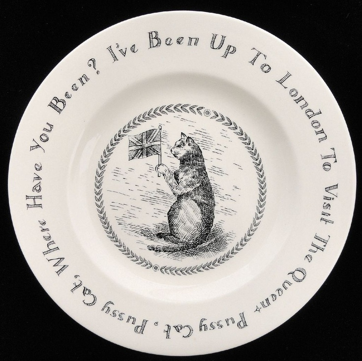 Early Emma Bridgewater transfer printed nursery rhyme plate: 'Pussy cat, Pussy Cat where have you been?'