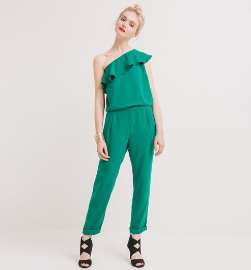 Combinaison one shoulder Femme vert - Promod