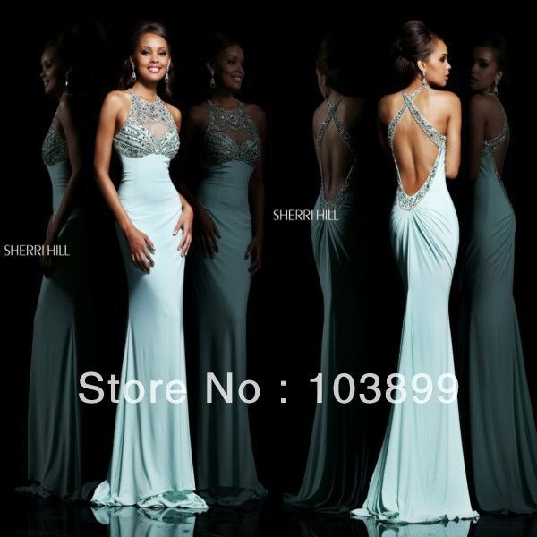 Sexy yet Contemporary Sheath Slim Blue Crystals Beaded Backless Prom Dress Tight Long Newly 2014-in Prom Dresses from Apparel & Accessories on Aliexpress.com