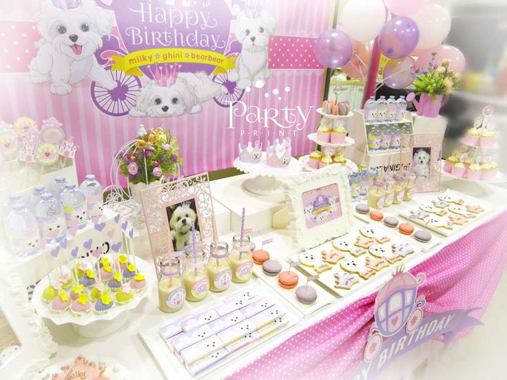 amazing dessert table at a princess puppy party see more party ideas at catchmyparty