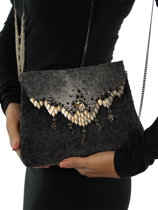 ANAT GELBARD BLACK FELT CLUTCH WITH CRYSTALS