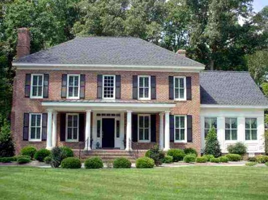 Best 25 modern colonial ideas on pinterest colonial for Colonial house plans with porch