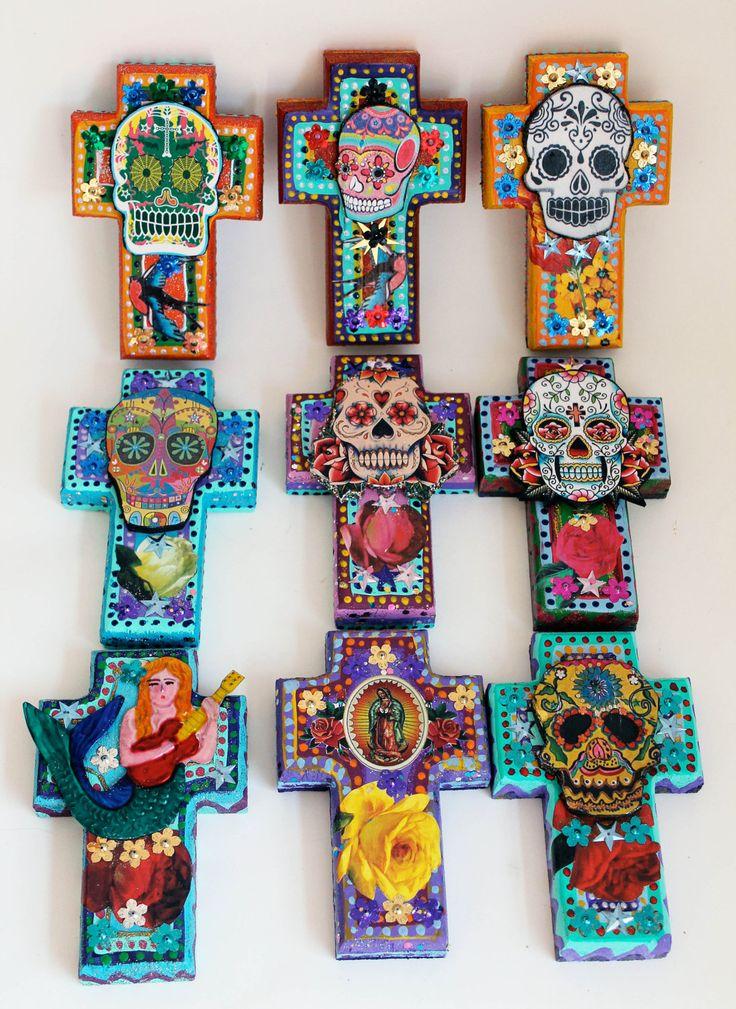 mexican sugar skull on wooden cross roygbiv rainbow