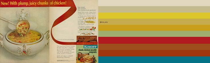 1963 Food Ad, Knorr Chunk Chicken Noodle Soup Mix (2-page advert): original image ©Classic Film via http://www.flickr.com/photos/29069717@N02/14504166468/in/pool-kitschen/