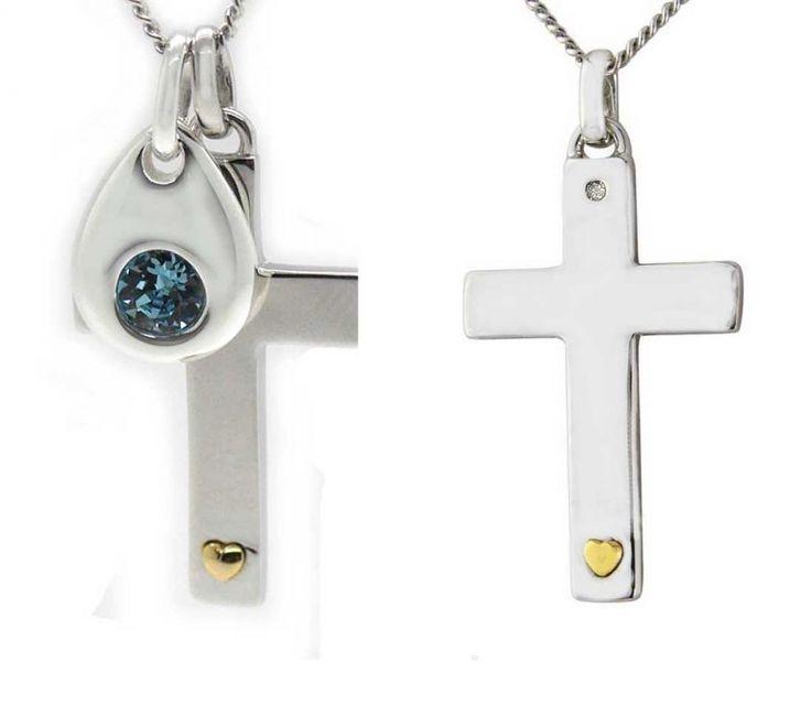 Taufkette Kreuz klassisch mit Herz und kleinem Diamanten