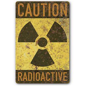 Radioactive Caution Warning Nuclear Radiation Symbol Tin Metal Sign Rust FX