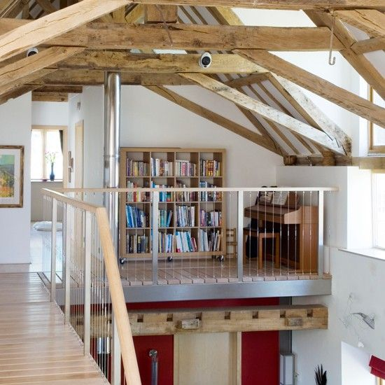 This mezzanine area music room is a gorgeous blend of modern and traditional the use of glass - Open mezzanine ...