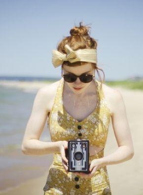 Box camera on the beach