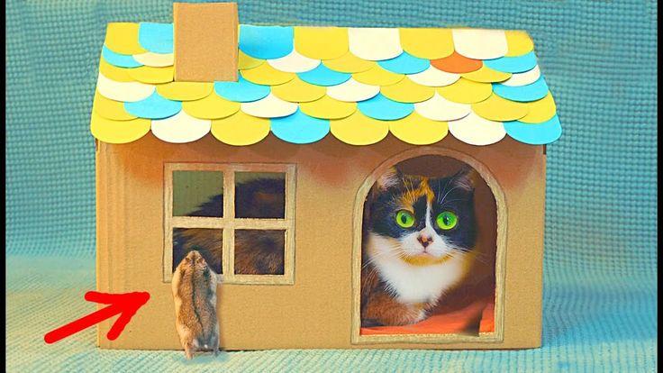 DIY Cardboard House for Cat - YouTube