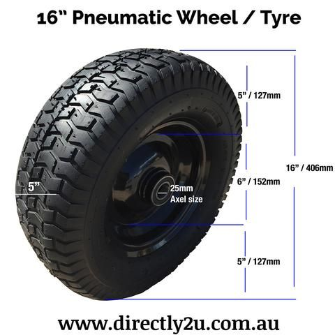 """Replacement pneumatic wheel suitable for most builders or brickies wheelbarrows and hand truck trolleys. Wheel Size: 16""""/406mm Tyre Width: 5""""/127mm Max Inflatio"""