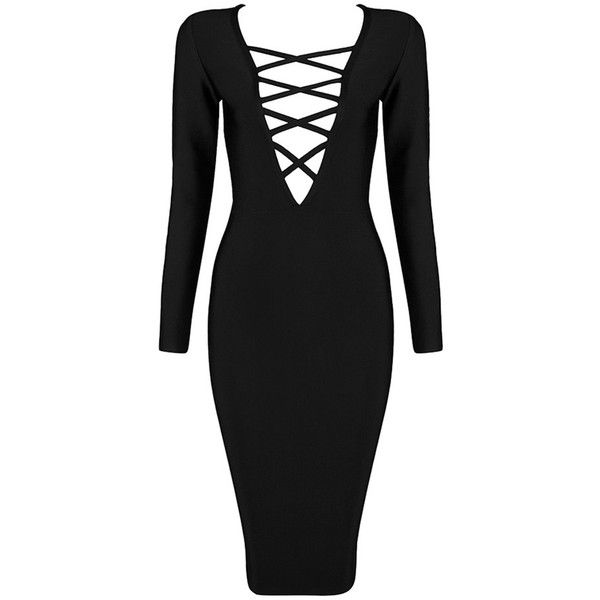 Pre-owned Black, Red, Beige, White Cross Her Heart Long Sleeve Bandage... found on Polyvore featuring dresses, white dress, sexy long sleeve dresses, black dress, red bandage dress and sexy black dresses