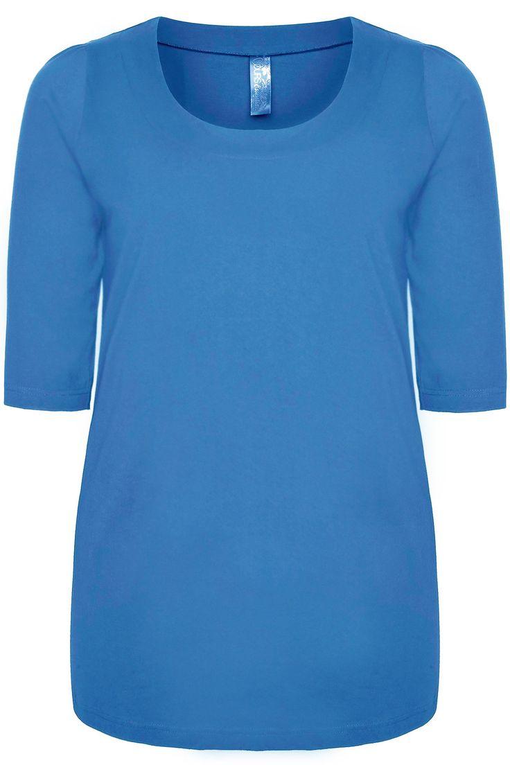 Cornflower Blue Band Scoop Neckline Basic T-shirt With 3/4 Sleeves