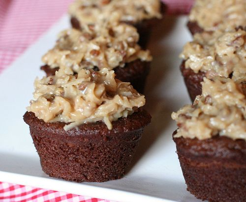 Mini German Chocolate cupcakes!! I do use a different home-made topping. It is from scratch and amazing!! I could eat an entire pan....