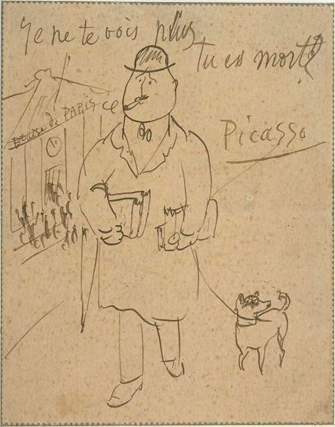 "Picasso  to  his rotund friend and poet Guillaume Apollinaire. The message reads, bluntly, ""I don't see you anymore. Are you dead?"""
