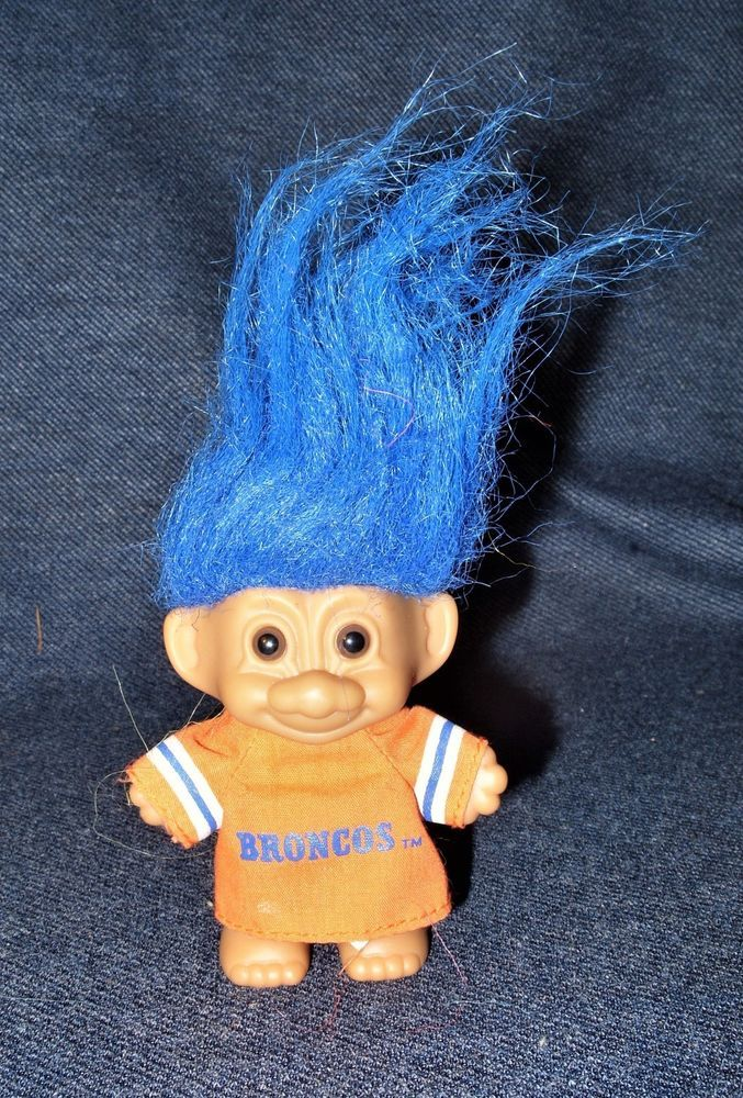"Rare 90's Official NFL Denver Broncos Russ 3"" Good Luck Troll Doll Blue Hair EUC #Russ #DollswithClothingAccessories"