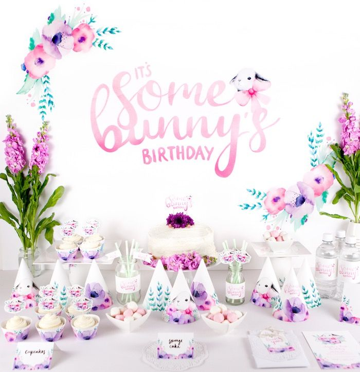 Floral + Bunny Birthday Party via Kara's Party Ideas | The Place for All Things Party! KarasPartyIdeas.com (19)