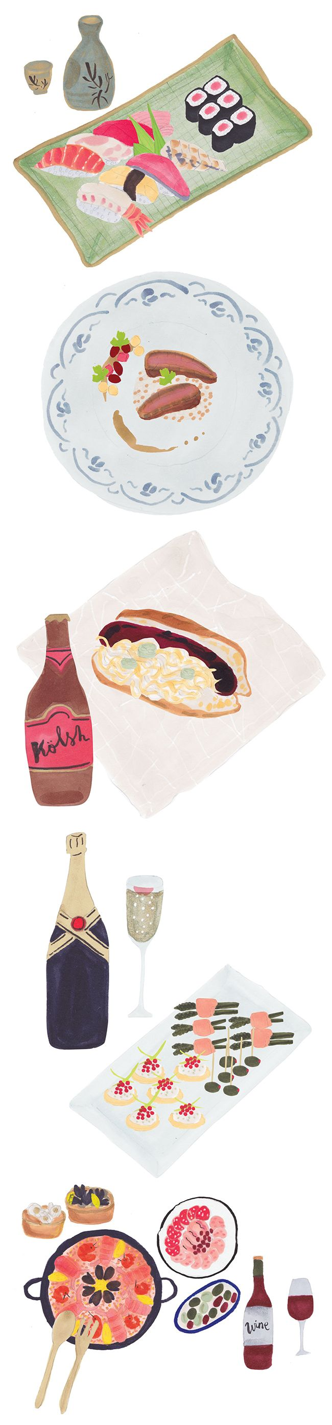 Food illustrations for the BEAMS Winter Gift Collection 2012 by Grace Lee