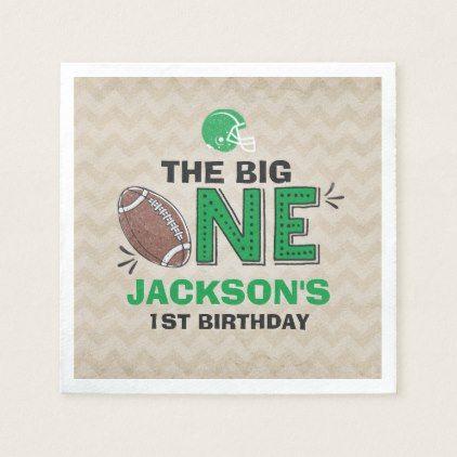 Football Party Napkin Football 1st Birthday - giftidea gift present idea one first bday birthday 1stbirthday party 1st