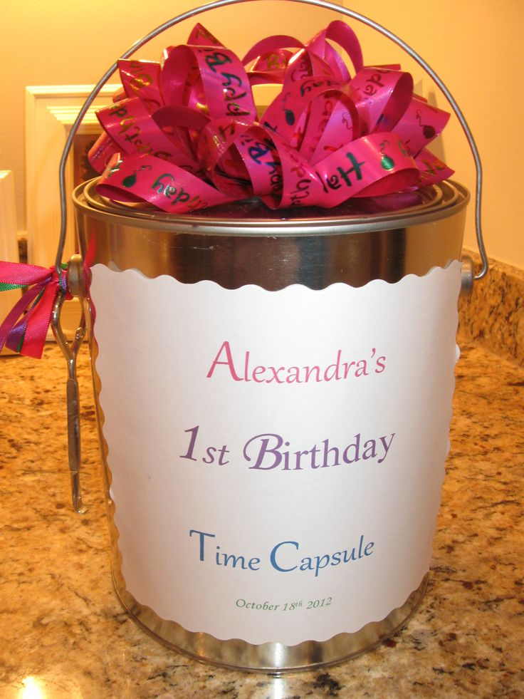 Open this time capsule on her 18th birthday full of messages & first birthday memories.  Memorable Birthday Gift.  Birthday Party Activity & Family Tradition Ideas.  DIY priceless craft for any birthday.