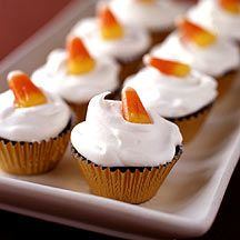 Brownie Cupcake Bites: Halloween treats don't get any cuter. We made these mini so you can pop one in your mouth and still have a little candy.