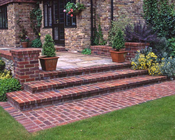 Detail natural brick step detail landscape detail for Brick steps design ideas